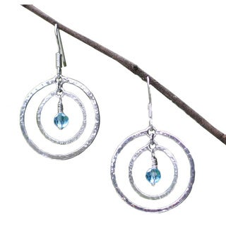 Handmade Sterling Silver 'Blue Halo' Earrings (Indonesia)