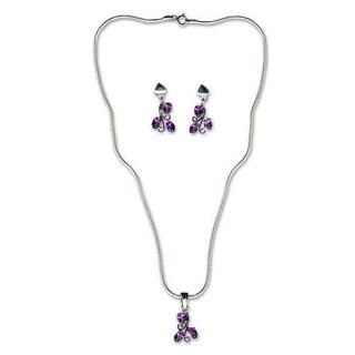 Handmade Amethyst 'Mystical Blooms' Jewelry Set (India)