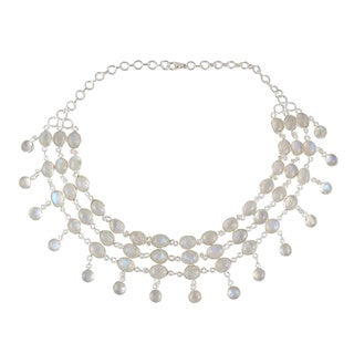 Handmade Anchor Chain Style Silver and Moonstone Ice Necklace (India)