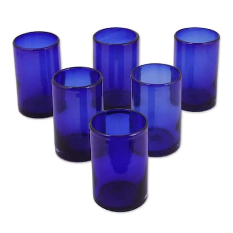 Handmade Set of 6 Solid Drinking Glasses (Mexico)