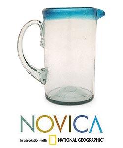 Handmade Glass 'Aqua' Pitcher (Mexico)