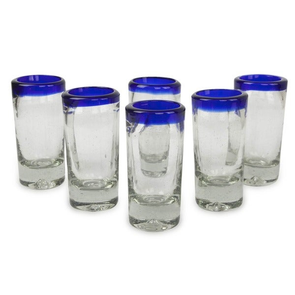 Handmade Tequila Blues Glasses, Set of 6 (Mexico). Opens flyout.