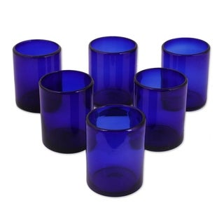 Handmade Set of 6 Blue Conical Drinking Glasses (Mexico)