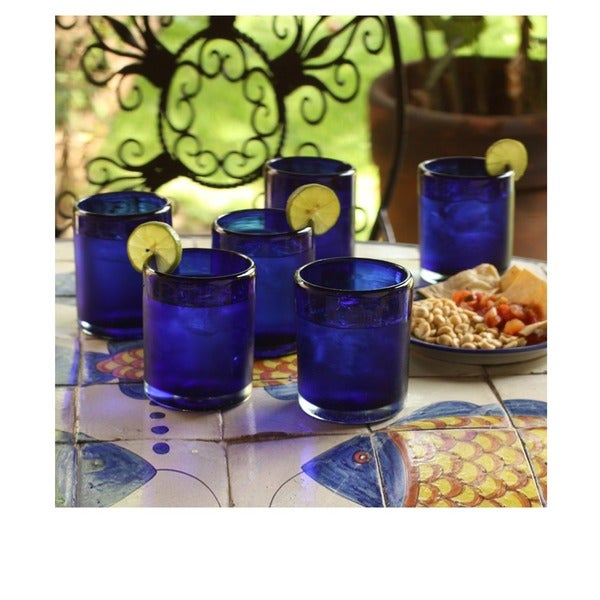 Hand Blown Set of 6 Blue Conical Drinking Glasses (Mexico)
