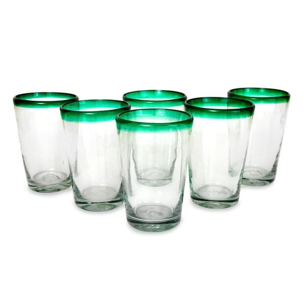 Hand Blown Set Of 6 Green Rim Conical Drinking Glasses (MEXICO)