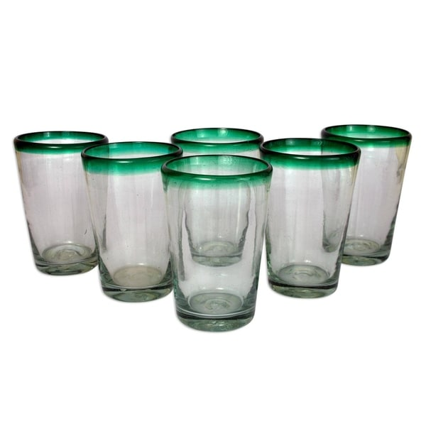 a1f02af28cc Handmade Blown Green Rim Conical Drinking Glasses Set of 6 (MEXICO)