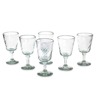 Contoured Clear Set of Six Barware or Everyday Tableware Perfect Hostess Gift Unique Stemmed Handblown Wine Glasses (Mexico)