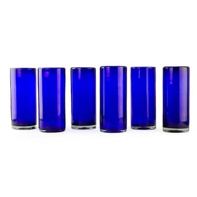 NOVICA Handmade Set of 6 Blown Glass 'Pure Cobalt' Highball Glasses (Mexico)