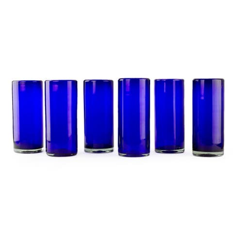 Handmade Set of 6 Blown Glass 'Pure Cobalt' Highball Glasses (Mexico)