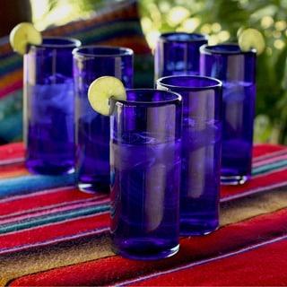 Handmade Set of 6 Blown Glass 'Pure Cobalt' Highball Glasses (Mexico)