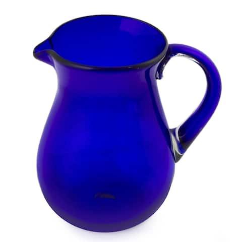 Handmade Glass Cobalt Charm Blue Pitcher (Mexico)