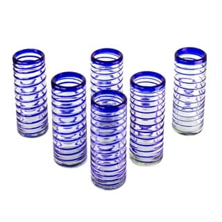 Handmade Set of Six Contemporary Cobalt Spiral Highball Glasses (Mexico)
