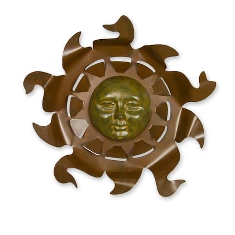 Aztec Sun Indoor Outdoor Patio Decorator Accent Brown and Rustic Rust Golden Sun with Rays Metal Wall Art Sculpture
