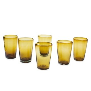 Handmade Set of 6 'Amber Angles' Drinking Glasses (Mexico)