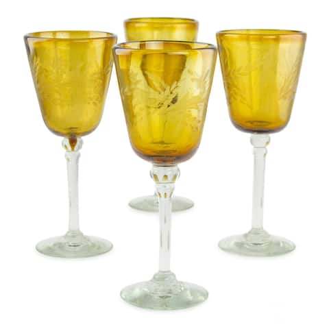 Amber Flowers Etched wine glasses set of 4