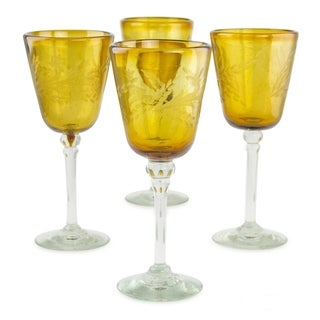 Hand Blown Amber Flowers set of 4 Etched wine glasses (MEXICO)
