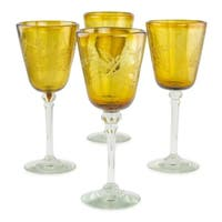Handmade Amber Flowers set of 4 Etched wine glasses (Mexico)