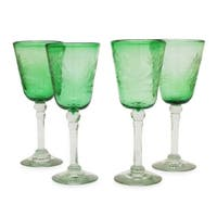 Handmade Set of 4 'Emerald Flowers' Etched Wine Glasses (Mexico)