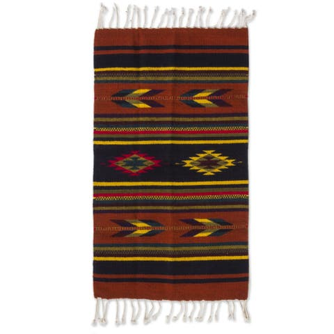 Swift Arrows and Stripes Geometric 100-percent Wool Hand Woven Traditional Zapotec Decor Accent Area (Mexico) - 2' X 3'