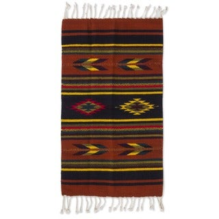 Swift Arrows and Stripes Geometric 100-percent Wool Hand Woven Traditional Zapotec Decor Accent Area Rug (2x3) (Mexico)