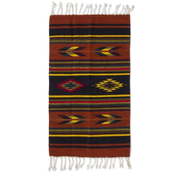 Swift Arrows and Stripes Geometric 100-percent Wool Hand Woven Traditional Zapotec Decor Accent Area