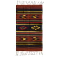 Swift Arrows and Stripes Geometric Wool Hand-woven Traditional Zapotec Accent Rug