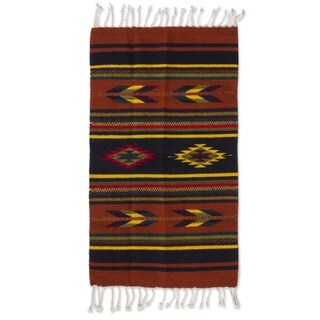 Handmade Swift Arrows and Stripes Geometric Wool Hand-woven Traditional Zapotec Accent Rug - (Mexico)