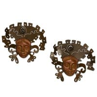 Iron and Ceramic 'Aztec Masks' Wall Adornment Pair  , Handmade in Mexico