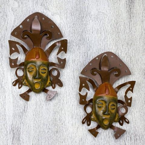 Iron and Ceramic 'Maya Masks' Wall Adornment Pair