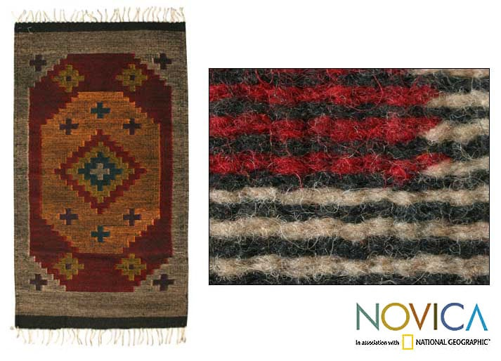 Stargazer Geometric Muticolor Eco Friendly Natural Dyes 100% Wool Hand Woven Traditional Zapotec Decor Accent Area Rug (2x3)