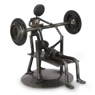 Handmade Iron 'Rustic Weightlifter' Statuette (Mexico)