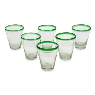 Handmade Blown Glass 'Emerald Cone' Juice Glasses Set (Mexico)