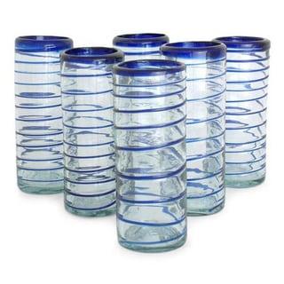 Handmade Set of 6 'Cobalt Spiral' Highball Glasses (Mexico)