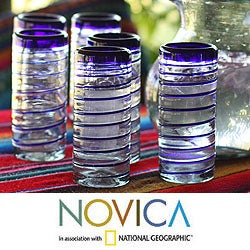 Handmade Set of 6 'Cobalt Spiral' Highball Glasses (Mexico) - Thumbnail 1