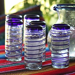 Handmade Set of 6 'Cobalt Spiral' Highball Glasses (Mexico)