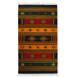 Southwestern Tequila Sunrise Zapotec Geometric Wool Rug (4 x 6) (Mexico)