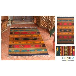 Handmade Southwestern Tequila Sunrise Zapotec Geometric Wool Rug (4 x 6) (Mexico)