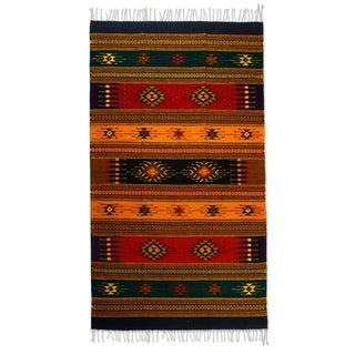 Handmade Southwestern Tequila Sunrise Zapotec Geometric Wool Rug (4 x 6) (Mexico) - 4' x 6'