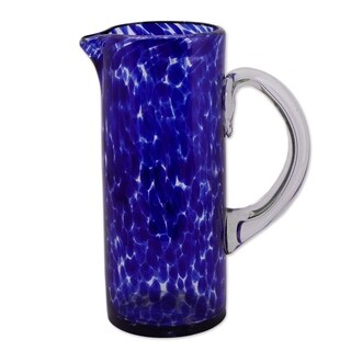 Handmade Glass Dotted Blue Pitcher (Mexico)
