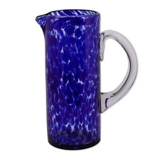 Handmade Glass 'Dotted Blue' Pitcher (Mexico)|https://ak1.ostkcdn.com/images/products/3374436/P11461297.jpg?impolicy=medium