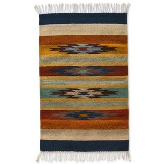 Stars on the Horizon Beige with Multicolors 100-percent Wool Handmade Decor Accent Traditional Mexic