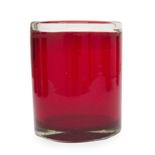 Ruby Style Set of Six Artisan Barware Everyday or Hostess Gift Unique Red Tumblers Handblown Drinking Glasses (Mexico)