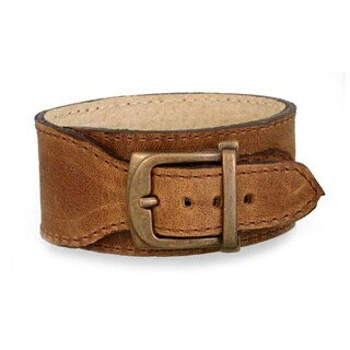 Handmade Leather Rugged Honey Boasts Belt Design Bracelet (Mexico)