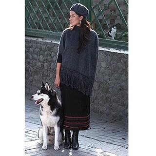 Handmade 'Princess Grey' Alpaca Wool Poncho and Hat (Peru)