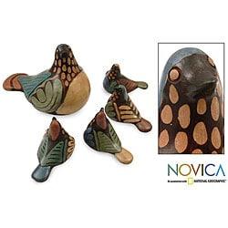 Set of 5 'Blue Dove Family' Ceramic Statuettes (Peru) - Thumbnail 0