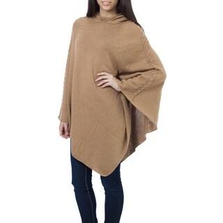 "Handmade Tan Riding Hood Alpaca Wool Poncho (Peru) - 46"" x 37"""
