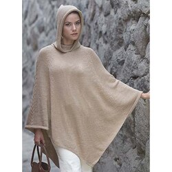 Handmade Tan Riding Hood Alpaca Wool Poncho (Peru)
