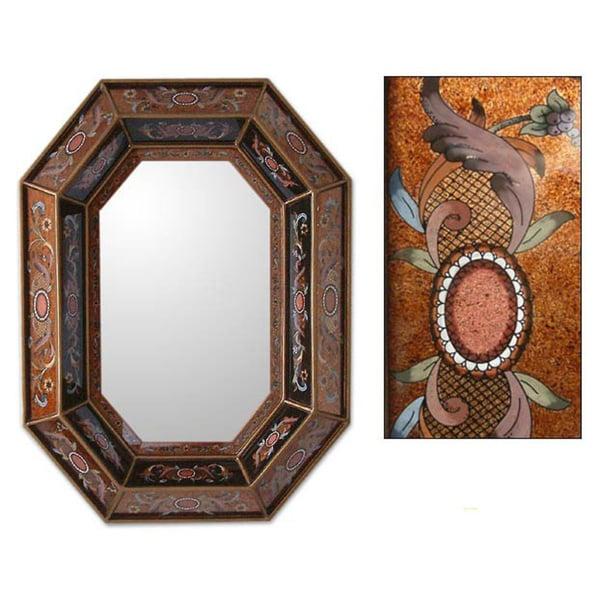 Copper Lands Design Artisan Handmade Reverse Painted Glass Floral Bronze Hallway Bedroom Bathroom Ac
