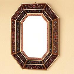 Copper Lands Design Artisan Handmade Reverse Painted Glass Floral Bronze Hallway Bedroom Bathroom Accent Wall Mirror (Peru)