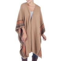 "Handmade Alpaca Wool Desert Sand Beige Shawl (Peru) - 45"" x 71"""